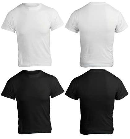 남성 셔츠 템플릿, 검은 색과 흰색, 전면 및 후면 디자인