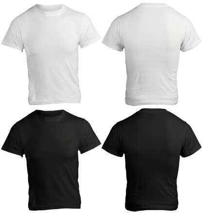 tee shirt: male shirt template, black and white, front and back design