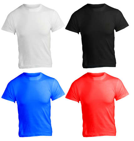 male shirt template, black, white, red, blue, front design Stock Photo - 20778479