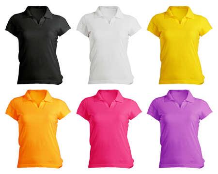 vrouwen s polo shirt sjabloon in de kleuren Stockfoto