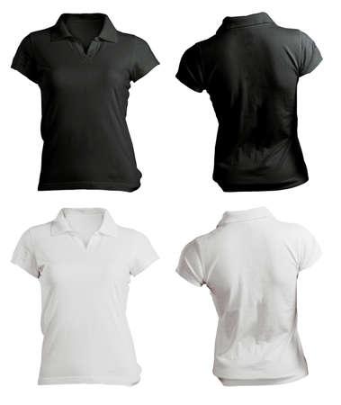 다시 여성의 폴로 셔츠 템플릿, 검정, 흰색, 전면 및