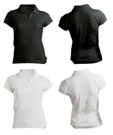 women s polo shirt template, black white, front and back