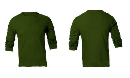 sleeved: Men green long sleeved t-shirt Stock Photo