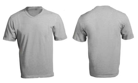 Grey male s v-neck shirt template, front and back design  Stock Photo