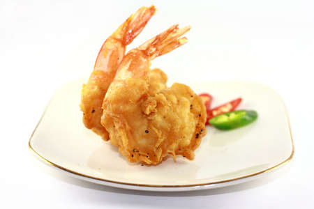 fried fish: fried prawn on white plate  Stock Photo