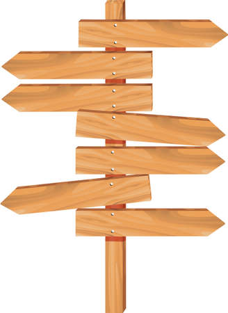 wooden arrow direction sign boards Vector