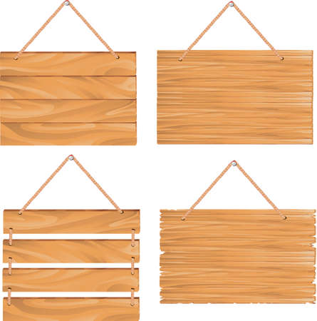 hanging wooden sign boards Vector