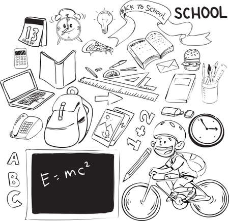 vector illustration of back to school theme, doodle style