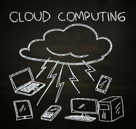 cloud service: cloud computing illustration sketched with chalk on blackboard