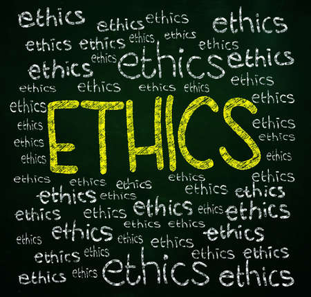 ethics words written with chalk on blackboard photo