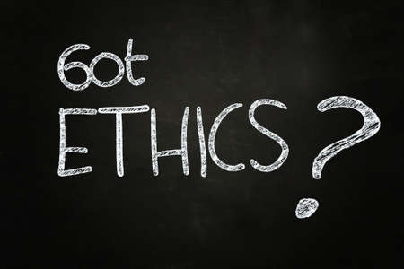 ethics and morals: got ethics   quote written with chalk on blackboard Stock Photo