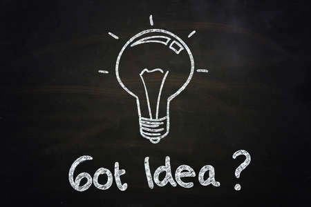 got: got idea  quote and lightbulb illustration sketched with chalkboard Stock Photo