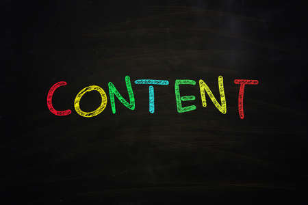 keywords link: content word written with color chalk on blackboard Stock Photo