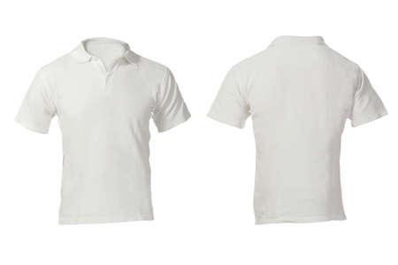 blanco: Blank Polo blanco de los hombres, frente y parte posterior plantilla de diseño