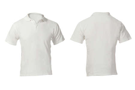 Mens Blank White Polo Shirt, Front and Back Design Template photo