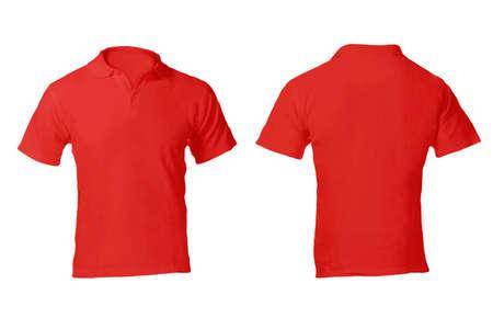 남자의 빈 빨간색 폴로 셔츠, 전면 및 후면 디자인 템플릿