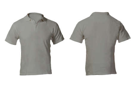 isolated on gray: Mens Blank Grey Polo Shirt, Front and Back Design Template Stock Photo