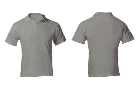 polo: Men's Blank Grey poloshirt, voor en achter Ontwerpmalplaatje Stockfoto