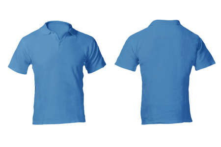 Men's Blank Blue Polo Shirt, Front and Back Design Template