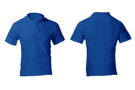 Mens Blank Blue Polo Shirt, Front and Back Design Template