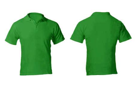 남자의 빈 녹색 폴로 셔츠, 전면 및 후면 디자인 템플릿