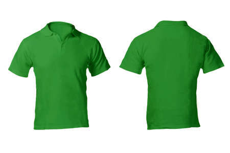 Mens Blank Green Polo Shirt, Front and Back Design Template photo