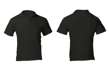 playera negra: En blanco Camisa Negro Polo masculino, frente y parte posterior Plantilla de Diseño