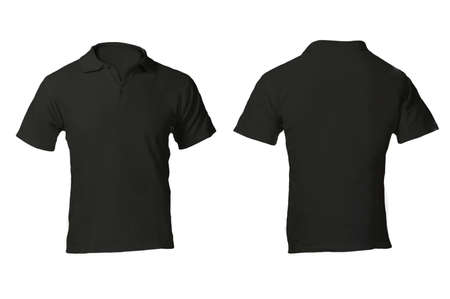 shirt template: Mens Blank Black Polo Shirt, Front and Back Design Template