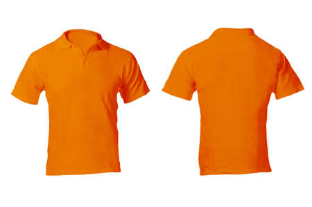 남자 빈 오렌지 폴로 셔츠, 앞면과 뒷면 디자인 템플릿