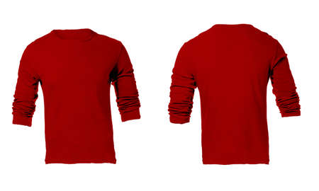 sleeved: Mens Blank Red Long Sleeved Shirt, Front and Back Design Template