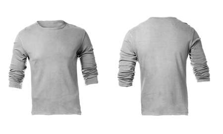 long sleeves: Mens Blank Grey Long Sleeved Shirt, Front Design Template Stock Photo
