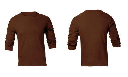 sleeved: Mens Blank Brown Long Sleeved Shirt, Front and Back Design Template