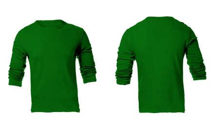 sudadera: En blanco Camisa verde Manga larga de los hombres, frente y parte posterior Plantilla de Diseño