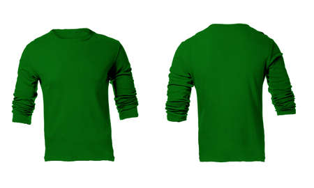 sleeved: Mens Blank Green Long Sleeved Shirt, Front and Back Design Template Stock Photo