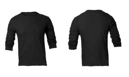sleeved: Mens Blank Black Long Sleeved Shirt, Front and Back Design Template