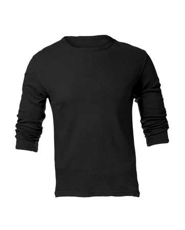 sleeved: Mens Blank Black Long Sleeved Shirt, Front Design Template