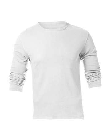 Mens Blank White Long Sleeved Shirt, Front Design Template photo