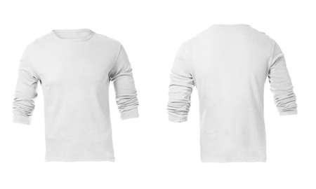 남자의 빈 흰색 긴 소매 셔츠, 전면 디자인 서식 파일
