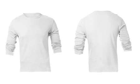 Mens Blank White Long Sleeved Shirt, Front Design Template