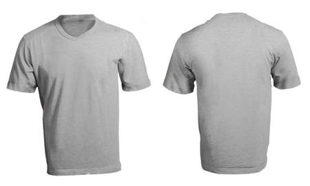 Mens Blank Grey V-Neck Shirt, Front and Back Design Template photo