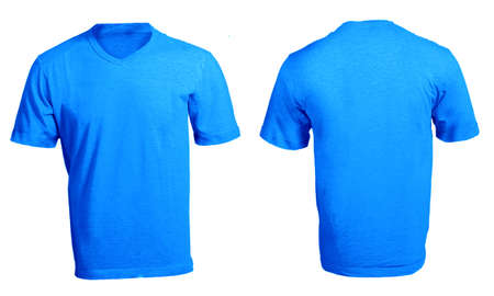 Mens Blank Blue V-Neck Shirt, Front and Back Design Template photo
