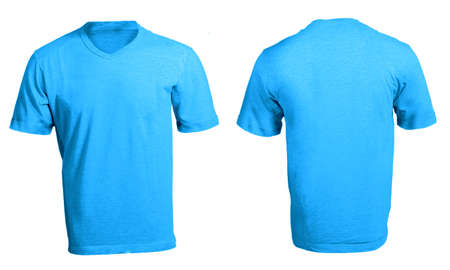 Mens Blank Blue V-Neck Shirt, Front and Back Design Template Stock Photo