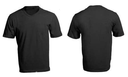 남성의 빈 블랙 V 넥 셔츠, 전면 및 후면 디자인 템플릿