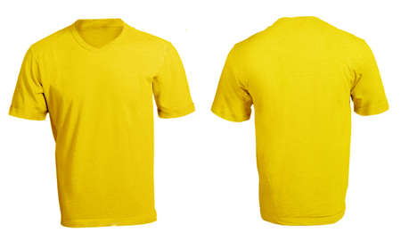 Mens Blank Yellow V-Neck Shirt, Front and Back Design Template Stock Photo