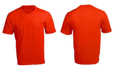 v neck: Mens Blank Red V-Neck Shirt, Front and Back Design Template