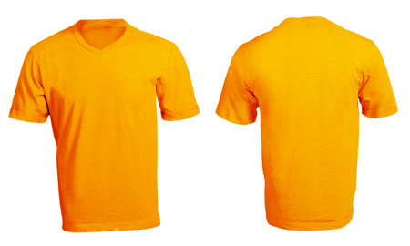 Mens Blank Orange V-Neck Shirt, Front and Back Design Template Stock Photo