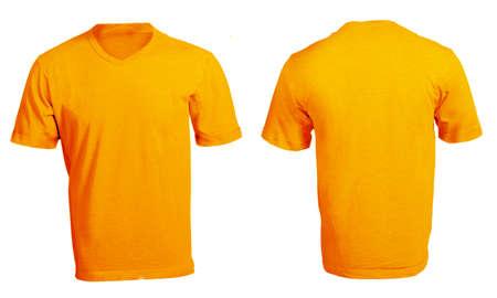 Mens Blank Orange V-Neck Shirt, Front and Back Design Template Stock Photo