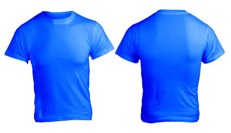 Mens Blank Blue Shirt, Front and Back Design Template Stock Photo
