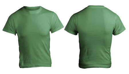Mens Blank Green Shirt, Front and Back Design Template