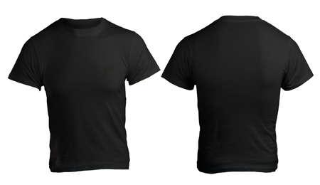 playera negra: Camisa Negro blanco masculino, frente y parte posterior Plantilla de Diseño